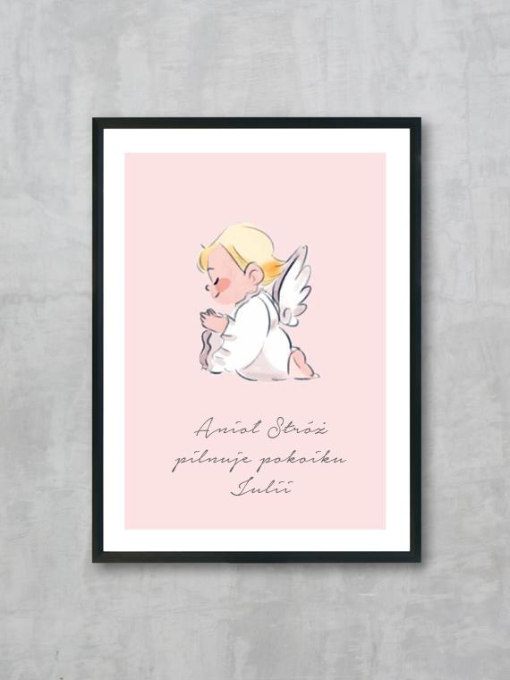 Plakat Anioł Stróż z imieniem Twojego dziecka