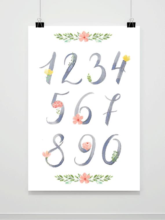 Plakat Kwiatowe Cyfry