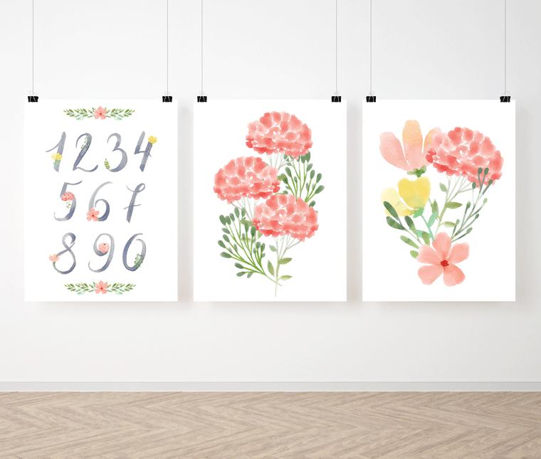 Zestaw plakatów Malowane Kwiaty