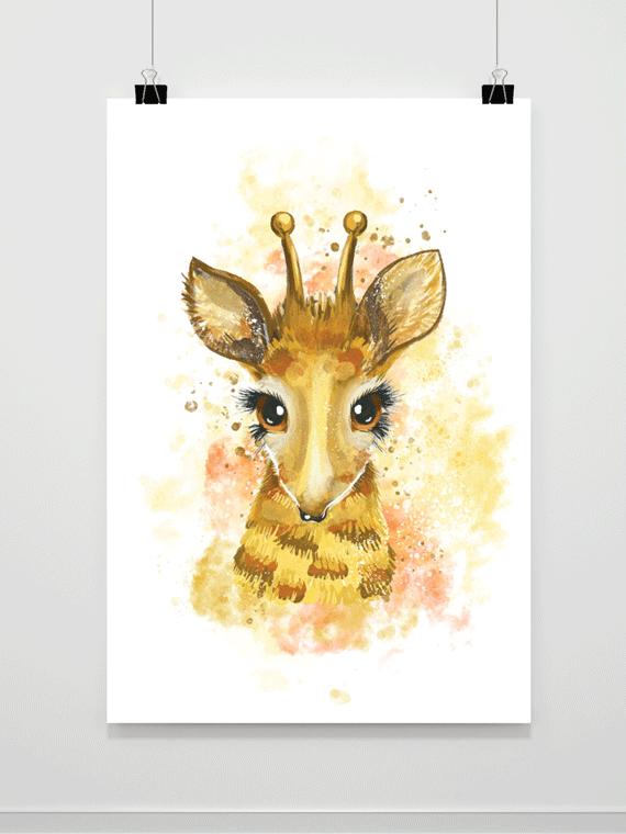 Plakat Akwarelowa Żyrafa