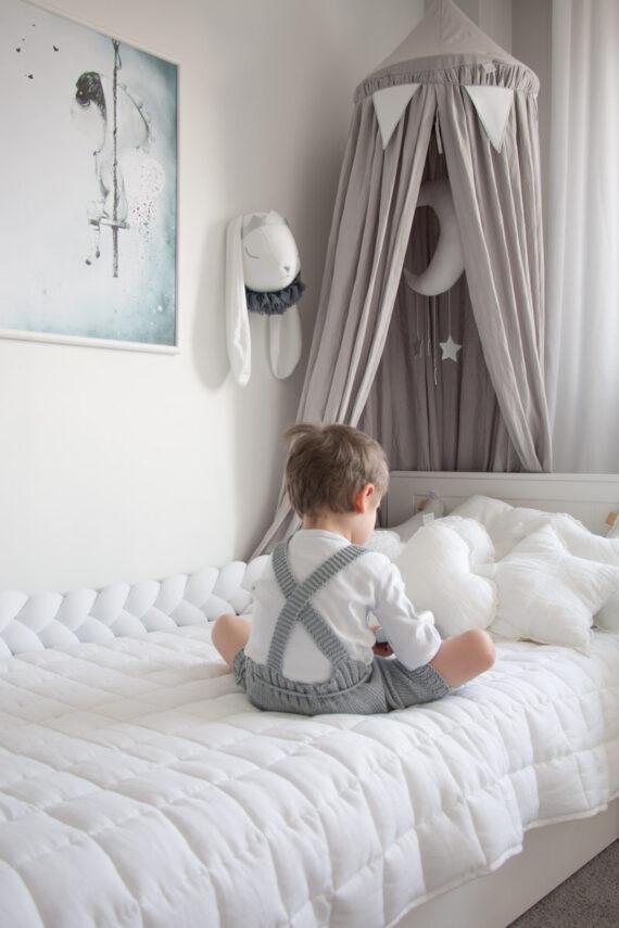 Ochraniacz do łóżeczka warkocz BIAŁY