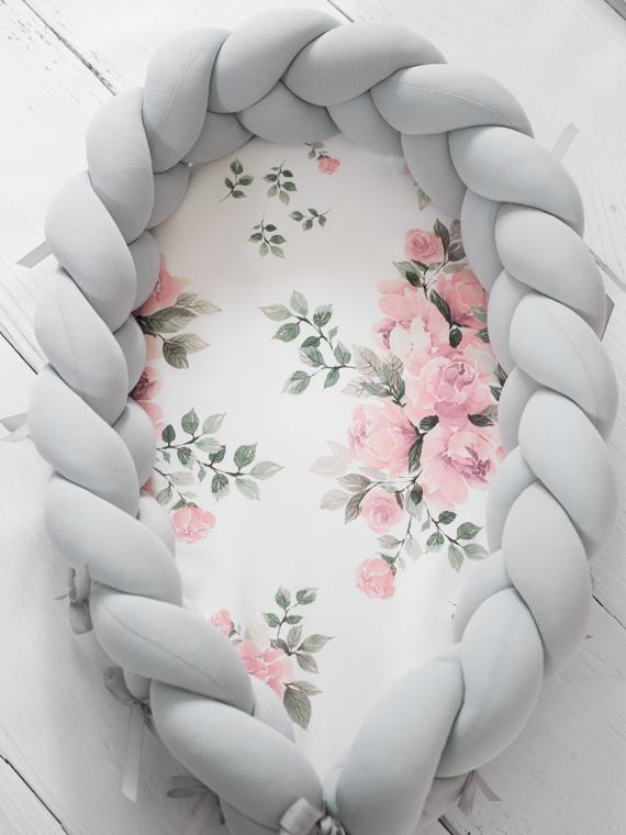 Kokon niemowlęcy pleciony 2w1 Magic Bloom Jasny Szary