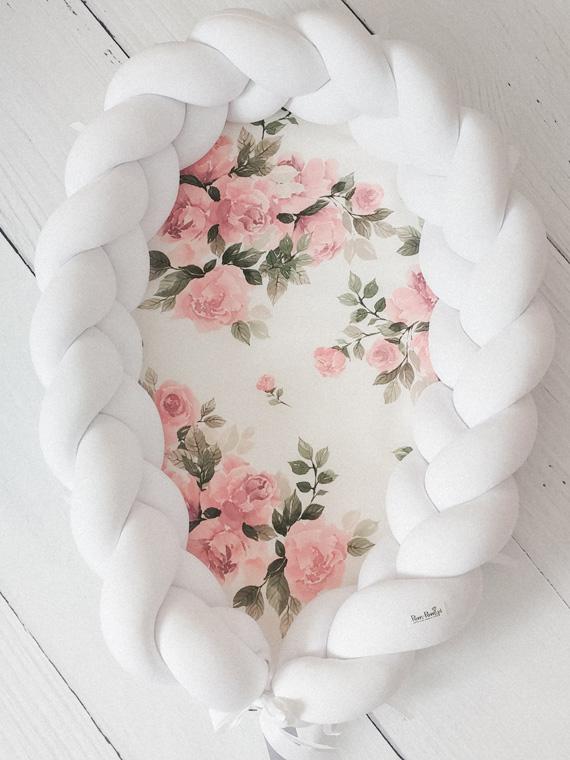 Kokon niemowlęcy pleciony 2w1 Magic Bloom Biały PREMIUM