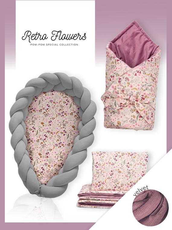 Wyprawka dla noworodka ZESTAW VELVET Retro Flowers 4w1 CIEMNOSZARY