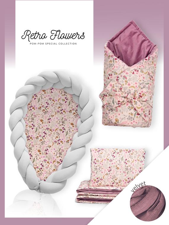 Wyprawka dla noworodka ZESTAW VELVET Retro Flowers 4w1 JASNOSZARY