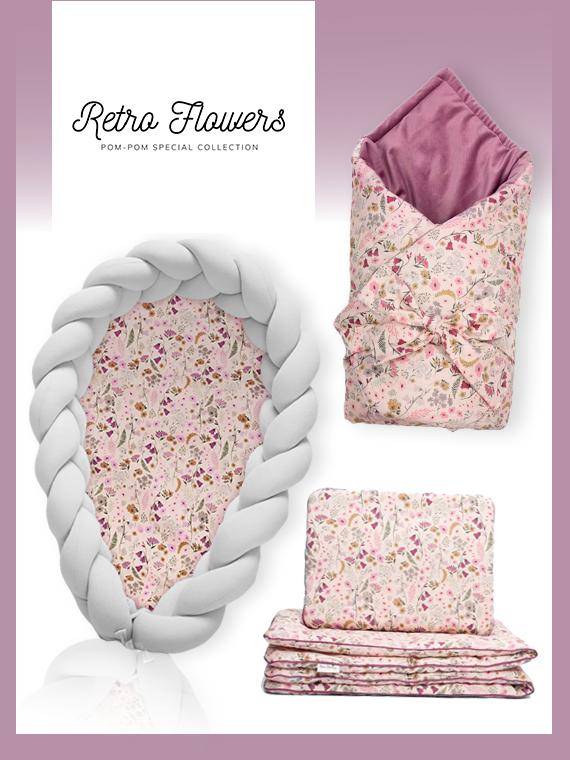 Wyprawka dla noworodka ZESTAW Retro Flowers 4w1 JASNOSZARY