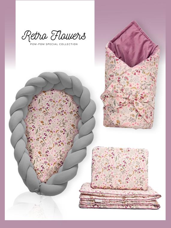 Wyprawka dla noworodka ZESTAW Retro Flowers 4w1 ciemnoszary