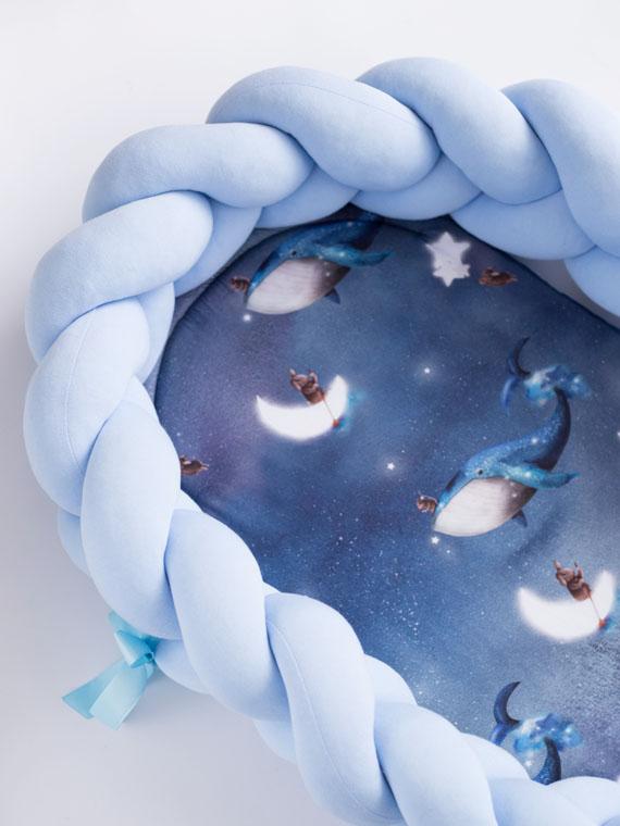 Kokon niemowlęcy pleciony 2w1 Ocean Dreams błękit