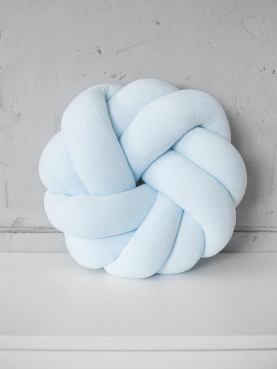 Poduszka knot pillow rozeta welurowa BABY BLUE