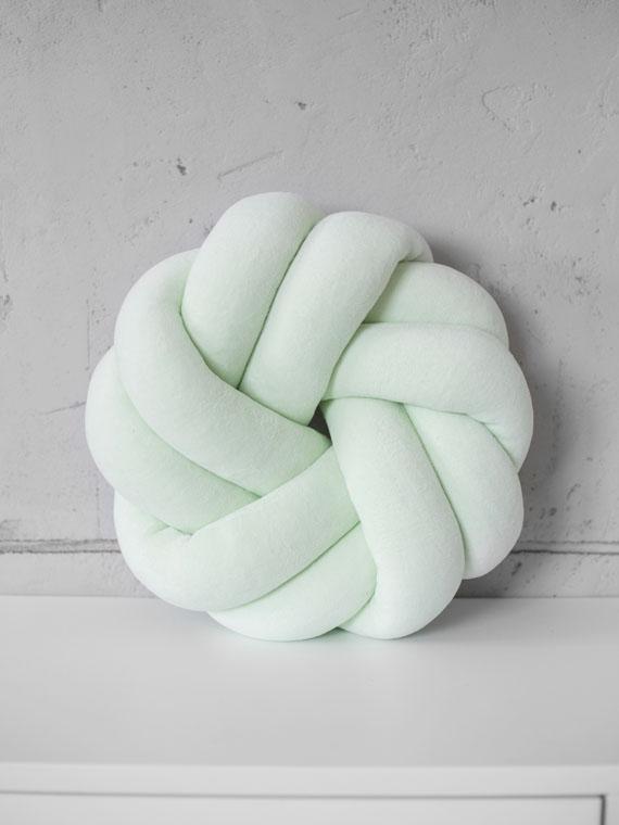 Poduszka knot pillow rozeta welurowa MIĘTOWA