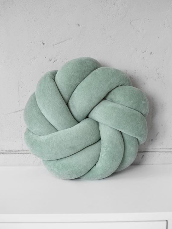 Poduszka knot pillow rozeta welurowa MODERN MINT