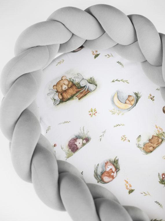 Kokon niemowlęcy pleciony 2w1 Forest Moments Szary PREMIUM