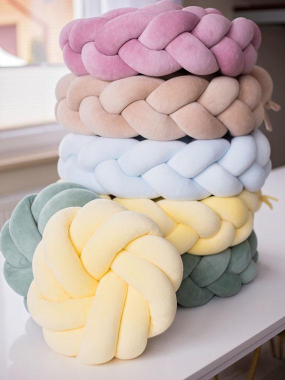 Poduszka knot pillow rozeta welurowa CYTRYNOWA